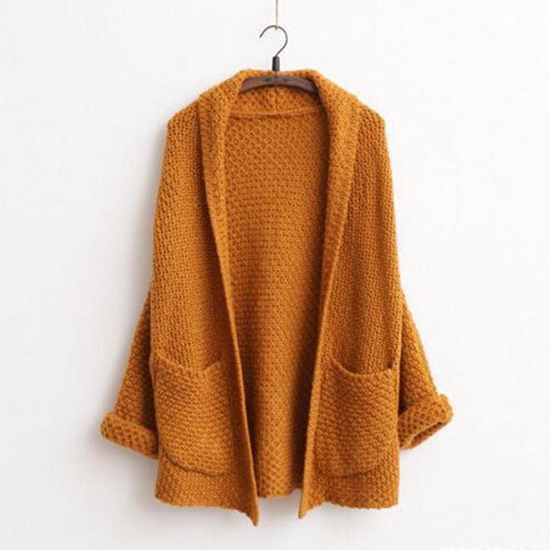 Suéteres-largos-2015-mujeres-moda-otoño-invierno-Cardigans-mujeres-suéter-manga-del-Batwing-del-bolsillo-grueso